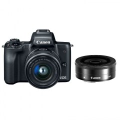 Canon EOS M50 Black + 15-45 IS STM lens, 22 STM lens