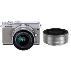 EOS M100 Grey 15-45 IS STM lens, 22 STM lens