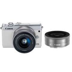 EOS M100 White 15-45 IS STM lens, 22 STM lens